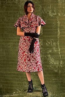 Red Sleeveless Floral Dress by Kritika Murarka-KRITIKA MURARKA