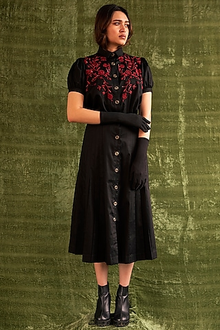 Black Floral Embroidered Shirt by Kritika Murarka