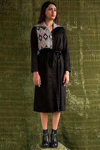 Black Shirt Dress With Weaving by Kritika Murarka