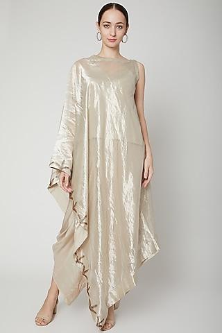 Silver Embroidered Draped Tunic Set by Kritika Murarka