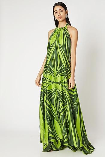 Emerald Green Screen Printed Maxi Dress by Kritika Murarka