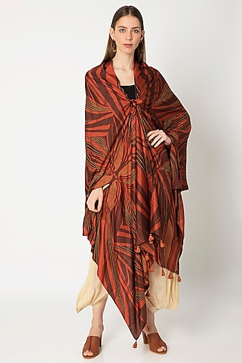Copper Printed & Embroidered Cape by Kritika Murarka