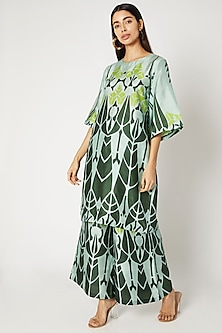 Olive Green Printed Tunic With Wide Leg Pants by Kritika Murarka