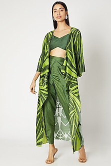 Emerald Green Printed Embroidered Cape With Bustier & Dhoti Pants by Kritika Murarka