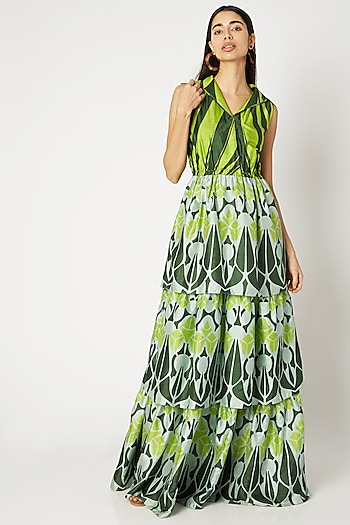 Emerald Green Printed Tiered Dress by Kritika Murarka