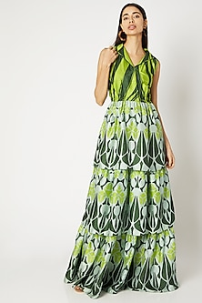 Emerald Green Printed Tiered Dress by Kritika Murarka