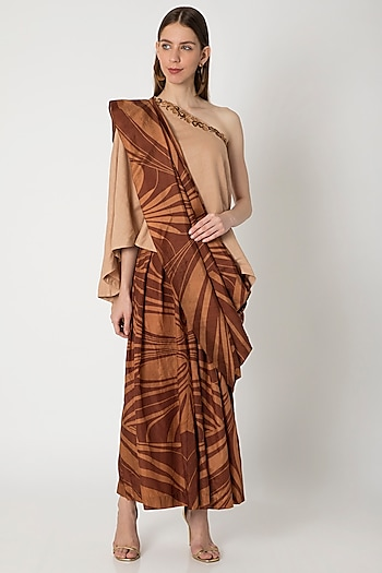 Brown Printed Pleated Pant Saree by Kritika Murarka