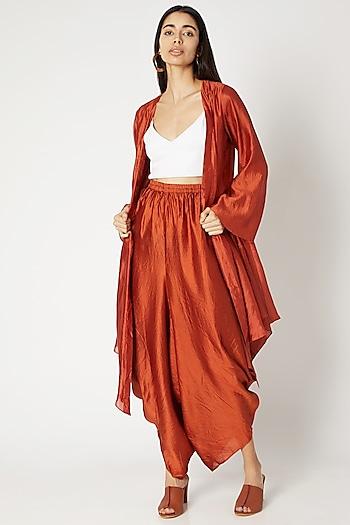 Rust Orange Spun Silk Jacket by Kritika Murarka