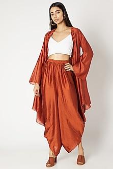 Rust Orange Afghani Pants by Kritika Murarka