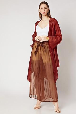 Rust Orange Pleated Pants by Kritika Murarka