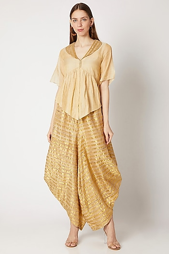 Golden Striped Wide Leg Pants by Kritika Murarka