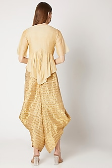 Golden Striped Wide Leg Pants by Kritika Murarka