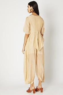 Golden Chanderi Tissue Dhoti Pants by Kritika Murarka