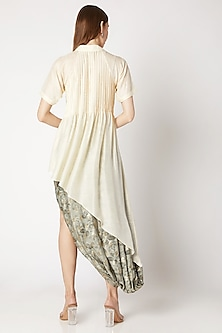 White Pleated Asymmetric Shirt by Kritika Murarka