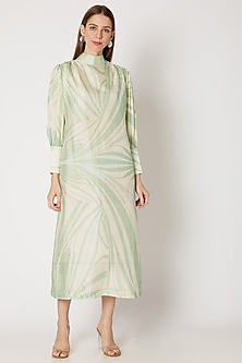 Off White Printed Midi Dress by Kritika Murarka