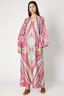 Blush Pink Printed A-Line Maxi Dress by Kritika Murarka