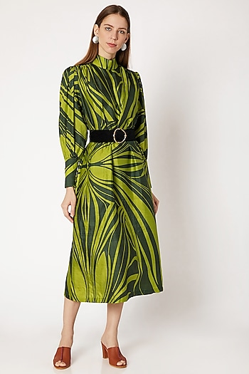 Emerald Green Printed Midi Dress by Kritika Murarka