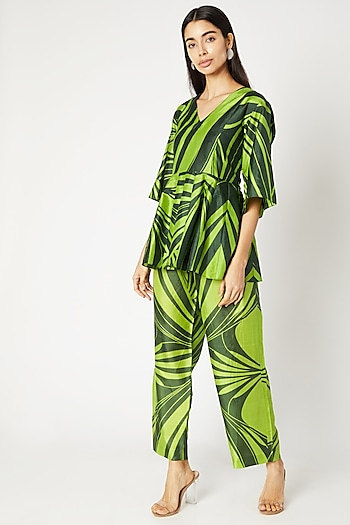 Emerald Green Printed Pants With Drawstrings by Kritika Murarka
