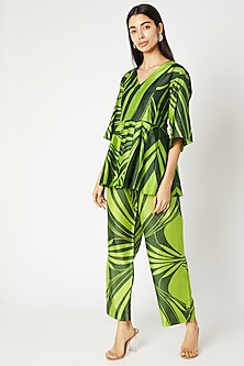 Emerald Green Printed Pants With Drawstrings by Kritika Murarka