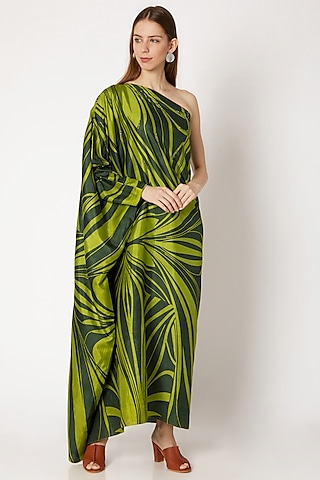 Emerald Green Printed Off Shoulder Dress by Kritika Murarka