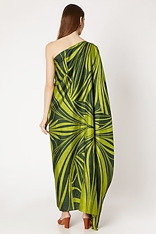 Emerald Green Printed Off Shoulder Dress by Kritika Murarka