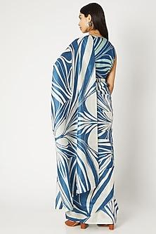 Cobalt Blue & White Printed Saree by Kritika Murarka