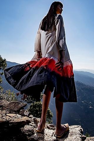 White & Charcoal Frilled Midi Dress by Khara Kapas