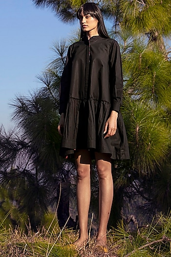 Black Poplin Dress by Khara Kapas