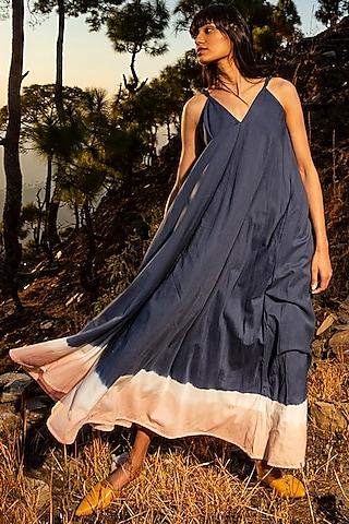 Cobalt Blue & Pink Ruffled Maxi Dress by Khara Kapas