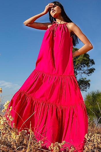 Hot Pink Poplin Sun Dress by Khara Kapas