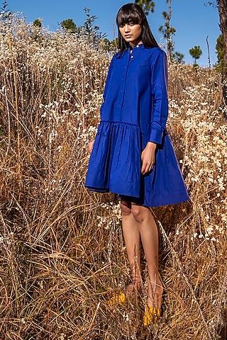 Electric Blue Poplin Dress by Khara Kapas