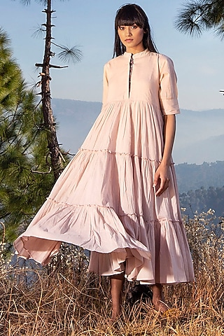 Blush Pink Tiered Midi Dress by Khara Kapas