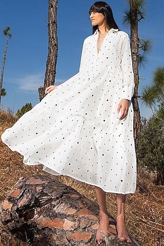 White Polka Dot Printed Dress by Khara Kapas