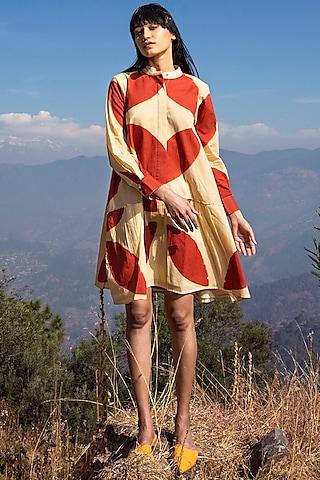 Scarlet & Beige Printed Dress by Khara Kapas