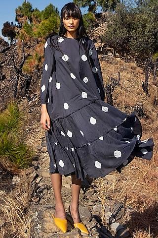 Black Printed Midi Dress by Khara Kapas