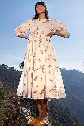 White Printed Midi Dress by Khara Kapas
