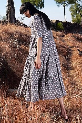 Grey Printed Midi Dress by Khara Kapas