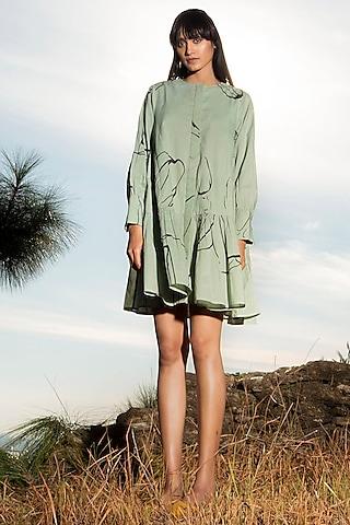 Green Printed Dress by Khara Kapas