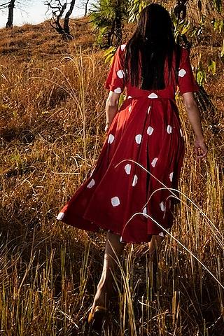 Crimson Red Printed Midi Dress by Khara Kapas