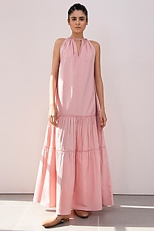 Blush Pink Tiered Maxi Dress by Khara Kapas