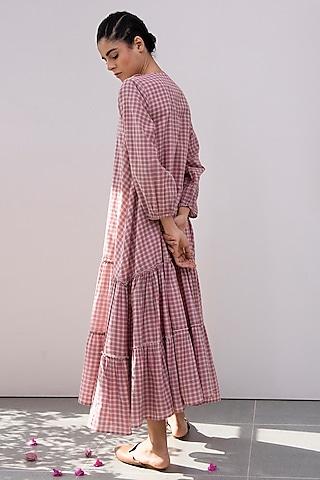 Pink Checkered Midi Dress by Khara Kapas