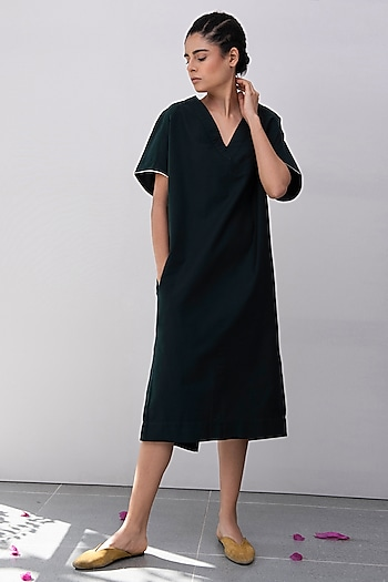 Pine Green Kimono Dress by Khara Kapas