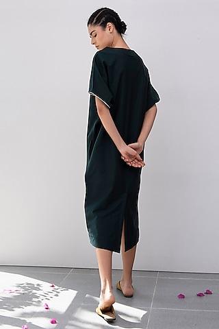 Pine Green Kimono Dress by Khara Kapas