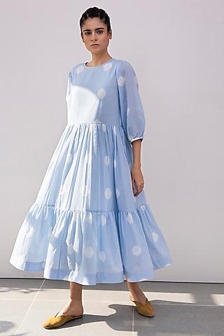 Powder Blue Tiered Midi Dress by Khara Kapas
