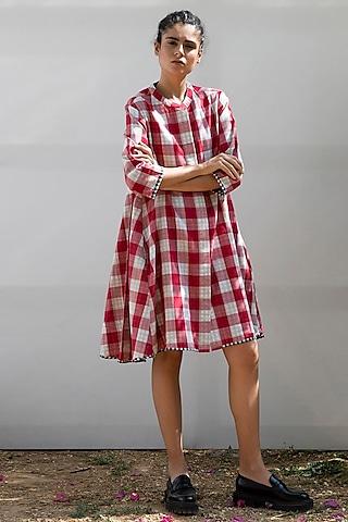 Red & White Checkered Dress by Khara Kapas