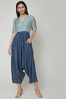 Powder Blue Jumpsuit With Short Sleeves by Khara Kapas