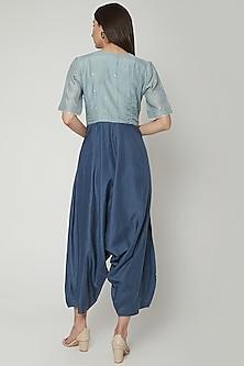 Powder Blue Jumpsuit With Short Sleeves by Khara Kapas