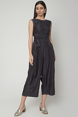 Charcoal Grey Embroidered Jumpsuit With Belt by Khara Kapas
