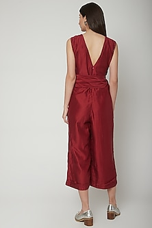 Scarlet Red Embroidered Jumpsuit With Tie-Up Belt by Khara Kapas