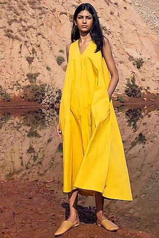 Yellow Pleated Midi Dress by Khara Kapas